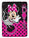 Disney Minnie Mouse All About Dots Fleece 62' x 90' Twin Blanket, Black/Pink