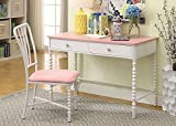 Coco Pink/White Metal/Microfiber Desk w/ Chair by Furniture of America