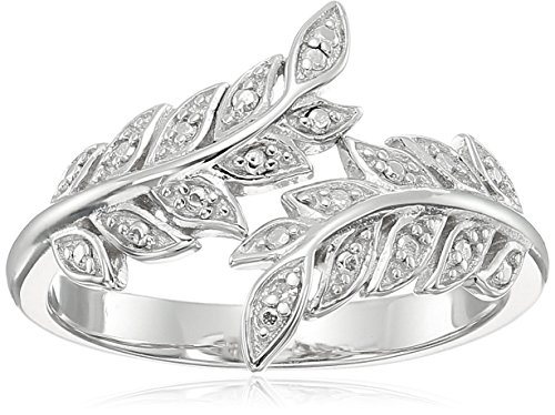 - Sterling Silver Diamond Accent Bypass Leaf Ring, Size 7