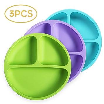 Amazon.com: Platos de silicona irrompibles para niños con ...