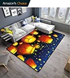 Bigdatastore Lantern Fruit Extra Large Area Rug, Floating Fanoos Like Devices on Sky Festive Auspicious Culture Chinese, Fashionable High Class Living Dinning Room(2'x 3')