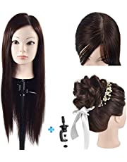 """Cosmetology Mannequin Head with Hair for Braiding 26"""" Brown Training Head Manikin Doll Head Synthetic Fiber Hair with Clamp"""