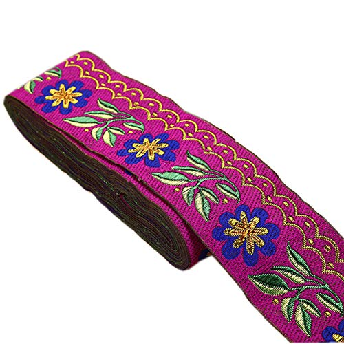 7 Yards 2inch Daisy Leaves on Waves Jacquard Ribbon Floral Embroidered Woven Trim for Embellishment Craft Supplies(Purple)