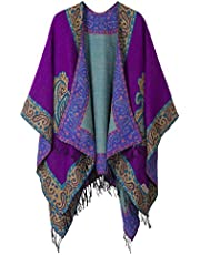 Women's Warm Shawls Retro Poncho Cape Floral Printed Coat Open Front Cardigans