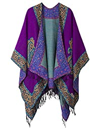 Women's Fashionable Retro Style Vintage Pattern Tassel Poncho Shawl Cape (series 2 Purple)