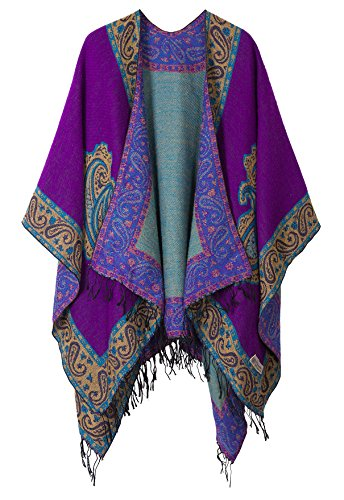 Plus Size Wrap (Women's Fashionable Retro Style Vintage Pattern Tassel Poncho Shawl Cape (series 2 Purple))