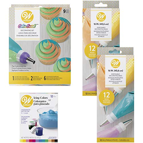 (Wilton Color Swirl Three-Color Coupler Cupcake Decorating Kit, 23-Piece)
