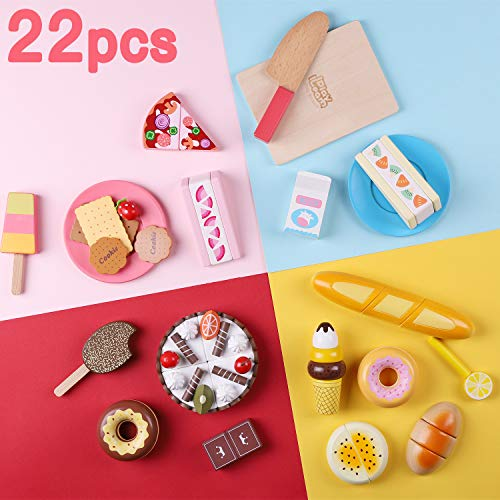 iPlay, iLearn Kids Snack Food Toys, Pretend Play Kitchen, Wooden Baking Play Set, Ice Cream, Breads, Plate, Magnetic Fruits Dessert Cutting Sets, Birthday Gift for 2, 3, 4, 5 Year Olds Girls, Toddlers