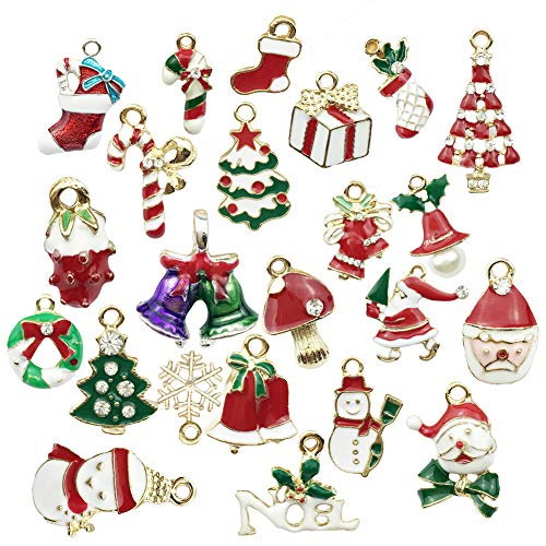 potato001 23Pcs/Set Christmas Tree Snowman Pattern Rhinestone Pendants Earrings Necklace Bracelet Charms for Jewellery Making and Crafting Multicolor