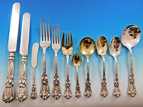 Iris Durgin Sterling - Iris by Durgin Sterling Silver Flatware Set for 12 Service 143 pieces Dinner