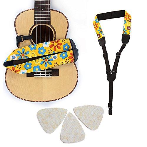 Easeicon Adjustable Button-Free Ukulele Strap Belt Country Flower [Extra Comfortable Design] UKE Neck Sling + 3 Felt Picks - Ideal for Hawaiian Ukelele(Baritone Tenor Concert Soprano) (Yellow) ()