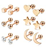 LOYALLOOK 3 Pairs Stainless Steel Moon Star and heart Plain Stud Earrings for Women and Girls (Style F:6 Pairs Rose Gold Tone)