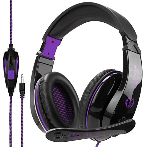 Anivia A9 3.5mm Gaming Headset Headphones with Microphone Volume Control for PS4/New Xbox One/Smartphones/Tablets/PC Mac Computers/Laptop-Black Purple
