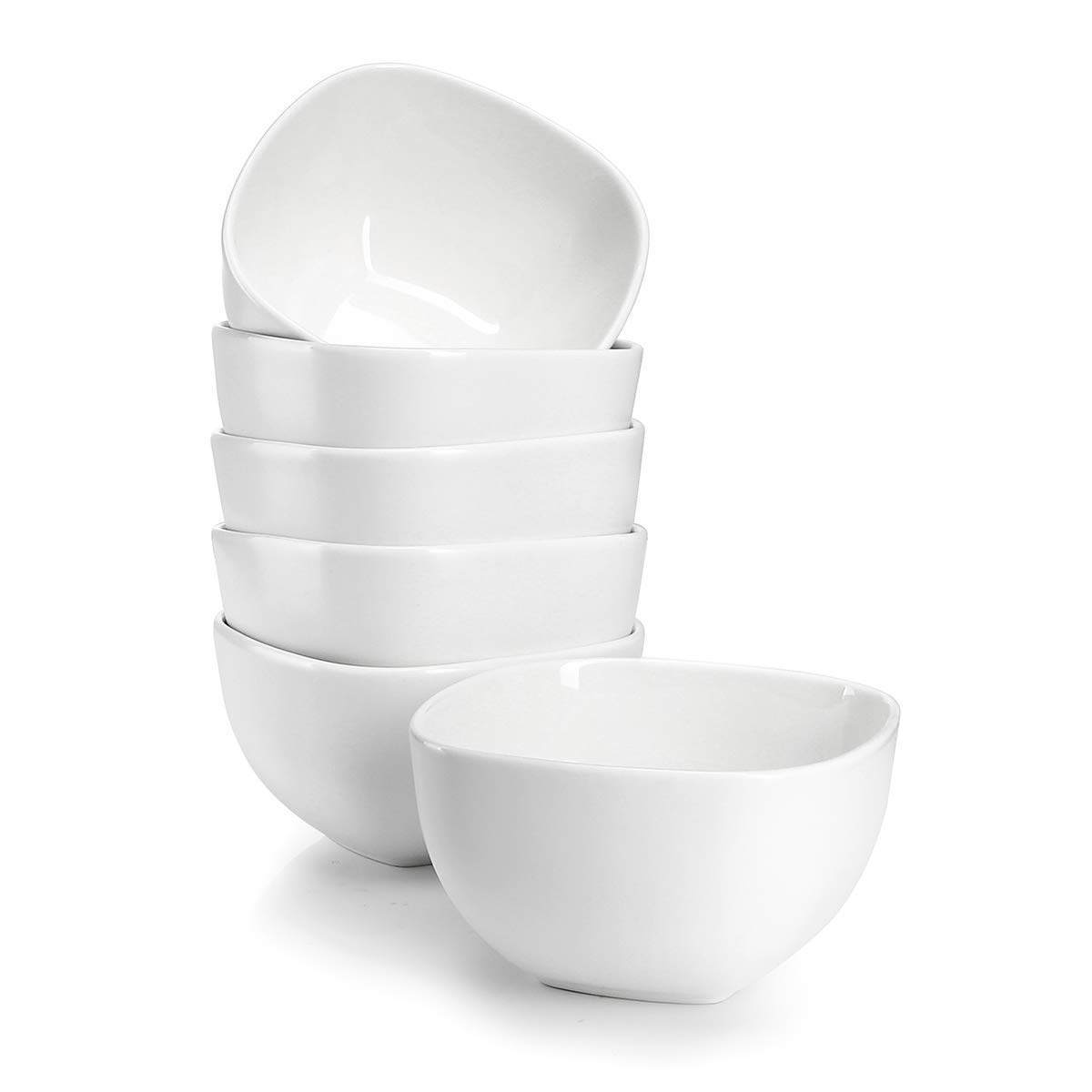 Sweese 1303 Porcelain Square Bowl Set - 14 Ounce for Cereal, Soup and Fruit - Set of 6, White