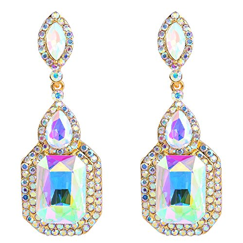 BriLove Women's Wedding Bridal Dangle Earrings Emerald Cut Crystal Infinity Figure 8 Chandelier Earrings Iridescent Iridescent AB Gold-Toned