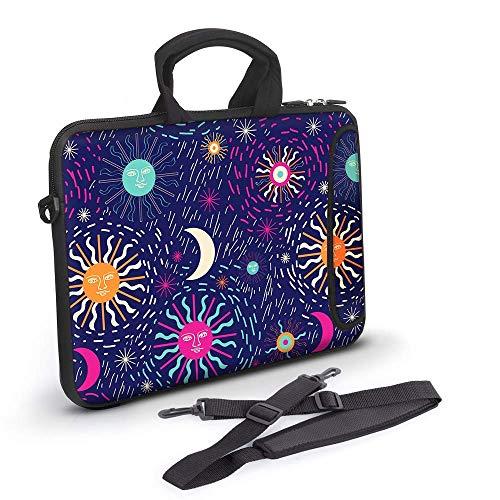 Neoprene Laptop Sleeve Bag Carrying Case, Shoulder Strap Messenger Bag Soft Handle Adjustable Shoulder Strap, Messenger Laptop Bag Teenage Girls Women (17-17.3inch, Color-Sun Moon)