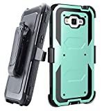 Grand prime Case,Galaxy G530 Case,LUOLNH Heavy Duty Shockproof Durable Full Body Protection Rigged Hybrid Case with belt clip holster and Kickstand for Samsung Grand Prime G530H/G5308W(Aqua)