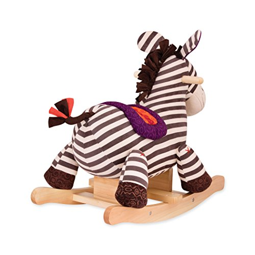 B toys – Kazoo Wooden Rocking Zebra – Rodeo Rocker – BPA Free Plush Ride On Zebra Rocking Horse for Toddlers and Babies 18m+ by B. toys by Battat (Image #4)