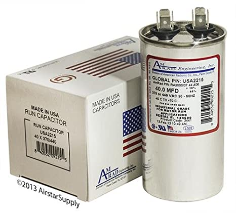 Mars 12245 Replacement Mars/_USA2215/_2 Made in the U.S.A 40 uf // Mfd 370 // 440 VAC AmRad Round Universal Capacitor
