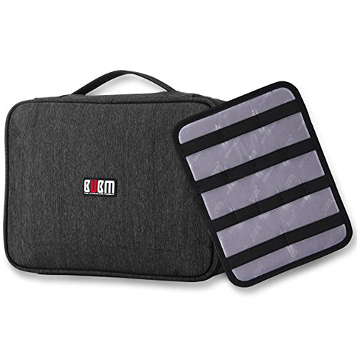 BUBM Large Electronic Accessories Organizers,Electronic Accessories Carrying Bag with Cable Plate, (Gray) by Homeself