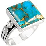 Sterling Silver Genuine Turquoise Ring for Women (7)