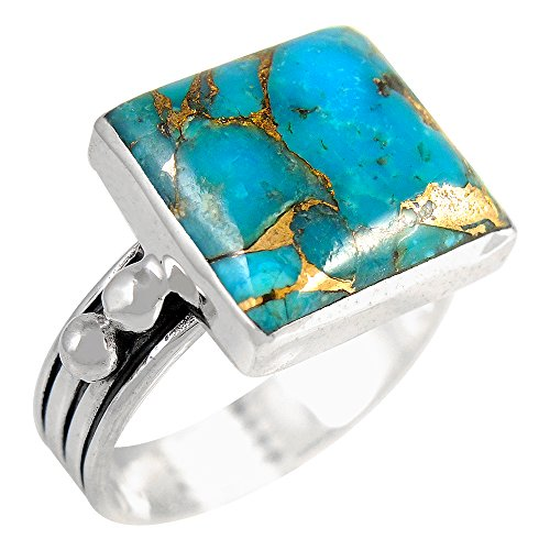 (Turquoise Ring in Sterling Silver 925 & Genuine Turquoise Size 6 to 11 (SELECT color) (Teal/Matrix Turquoise,)