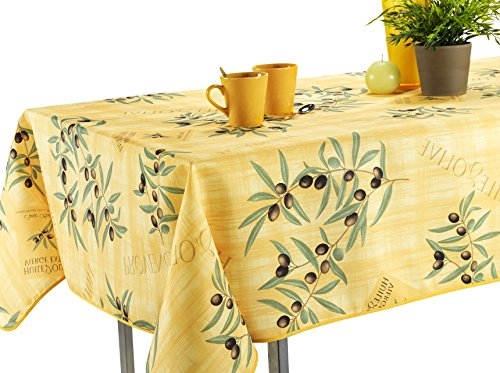 My Jolie Home, 60 x 80-Inch Rectangular Yellow Olive Branch Stain Resistant Tablecloth, Yellow