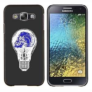 """Be-Star Único Patrón Plástico Duro Fundas Cover Cubre Hard Case Cover Para Samsung Galaxy E5 / SM-E500 ( Bombilla Azul Blanco Idea cráneo profundo"""" )"""