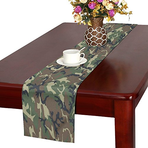 Woodland Camouflage Pattern Design Cotton Linen Placemat Table Runner 16 x 72 Inches, Rectangle Table Runner Cotton Linen Cloth Placemat. ()
