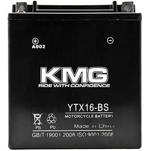 KMG YTX16-BS Battery For Suzuki 500 LT-A500F Vinson 4WD 2002-2003 Sealed Maintenace Free 12V Battery High Performance SMF OEM Replacement Powersport Motorcycle ATV Snowmobile Watercraft