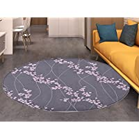 Floral small round rug Carpet Asian Spring Japanese Sakura Branches Full Blossom Modern Oriental Composition door mat indoors Bathroom Mats Non Slip Taupe Pale Pink