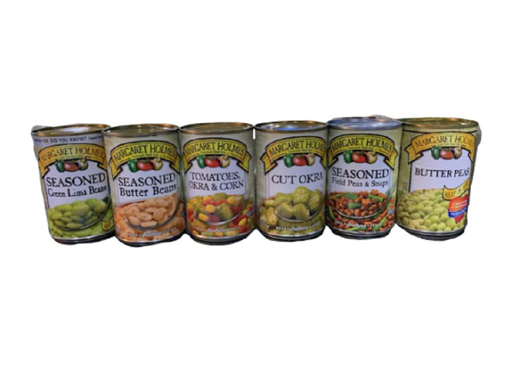 Margaret Holmes 6 Can Variety Pack Lima Beans, Corn, Okra, Peas, Tomatoes, Butter Peas