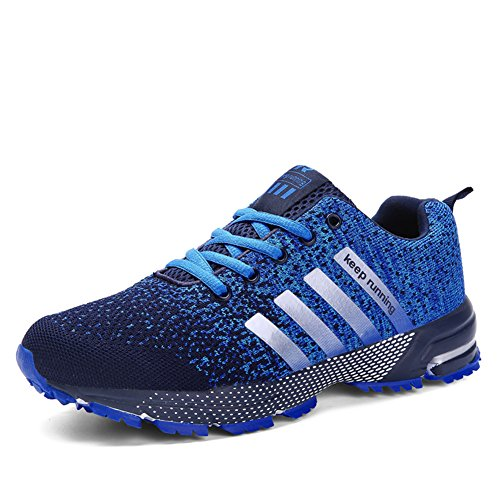 (KUBUA Mens Running Shoes Trail Fashion Sneakers Tennis Sports Casual Walking Athletic Fitness Indoor and Outdoor Shoes for Men 10.5 B / 8.5 D F Blue)