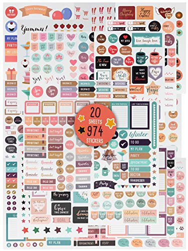 974 Gorgeous Planner Stickers - Stunning Accessories Enhance and Simplify Your Planner, Journal and Calendar