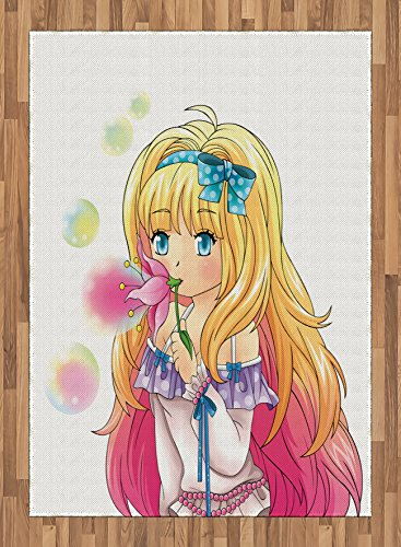 Anime Area Rug by Ambesonne, Cute Manga Girl Blowing Bubbles from a Flower Japanese Cartoon Artsy Japan Art Print, Flat Woven Accent Rug for Living Room Bedroom Dining Room, 5.2 x 7.5 FT, Pink Yellow by Ambesonne