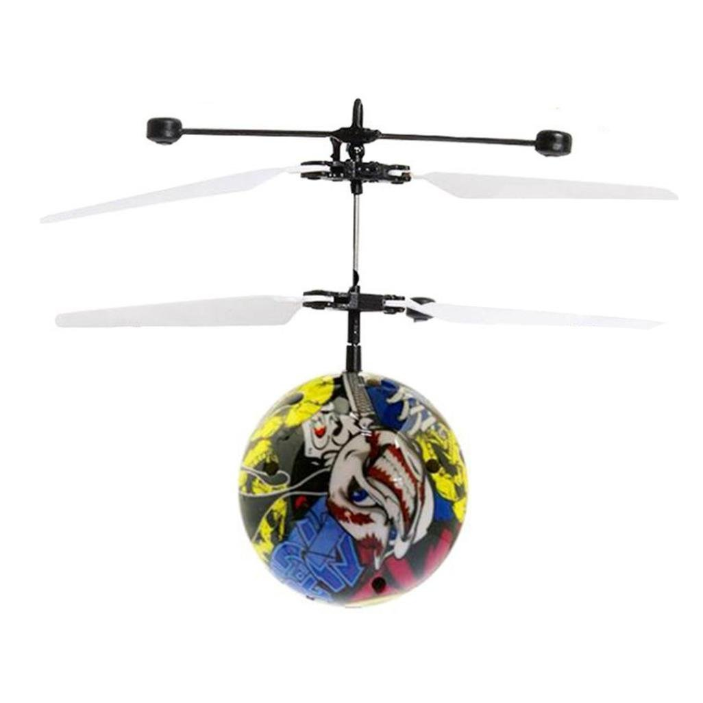 Flying Ball , LED RC Flying Ball Toy Hand Control Infrared Induction Suspension Helicopter Ball Built-in Shinning LED Lighting for Kids, Teenagers Birthday (Graffiti) GreaSmart