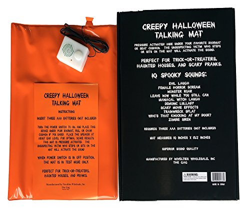 The Gags-10 Halloween Sounds Creepy Screaming Doormat Scary Spooky Funny Talking Door and Seat Mat-Hide This Doormat and TERRORIZE Your Friends-Family-Neighbors and Trick OR TREATERS! -