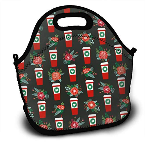 SUPERCOL Christmas Candy Cane Holly Coffee Insulated Lunch Bag, Reusable Portable Lunch Tote with Adjustable Strap and Zipper for Outdoor School and Work