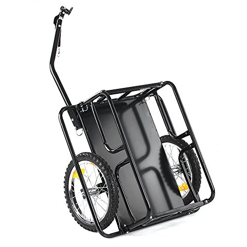 IKAYAA Folding Bike Cargo Trailer Hand Wagon Bicycle Luggage Trailer Storage Cart Carrier with Detachable Metal Frame Hitch by IKAYAA (Image #3)