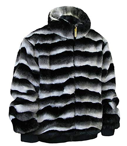 - Ablanche Urban Fur Fitter Men's Faux Fur Reversible Jacket 9FJ01 Chinchilla Black White