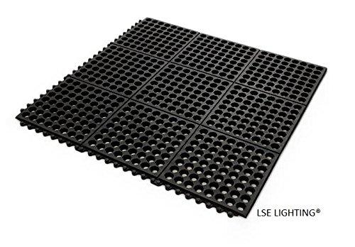 Rubber Matting Interlock Anti-Slip Anti-Fatigue Drainage Floor Mat Black 3/8