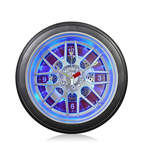(Wall Clock Personality LED Light Control Creative car tire Living Room Bedroom Mute Quartz Clock(Size:14 inches),Red,14inches)