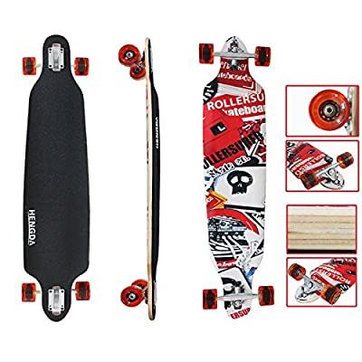 VINGO® Longboard Tête de Mort Drop Through Longboard Rétro Old Skateboard …