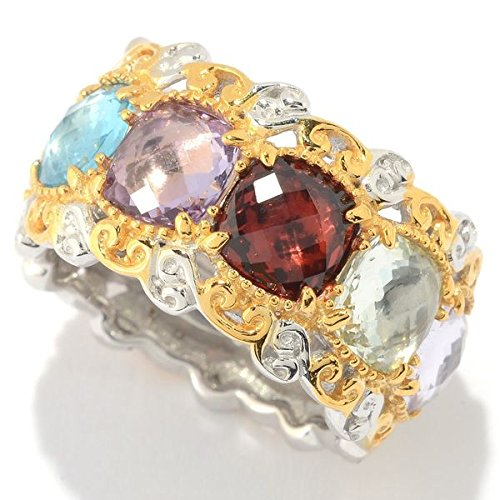 Michael Valitutti Palladium Silver Checkerboard Cut Multi Gemstone Eternity Band Ring