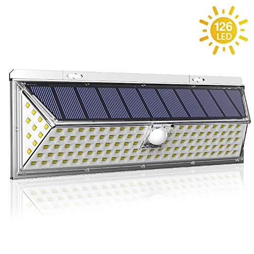 Solar Lights Outdoor,2win2buy 126 LED Motion Sensor Super Bright Solar Powered with 270 Wide Angle Illumination, IP65 Waterproof 3 Modes Security Wall Lamps for Front Back Door, Garage,Yard 1 Pack