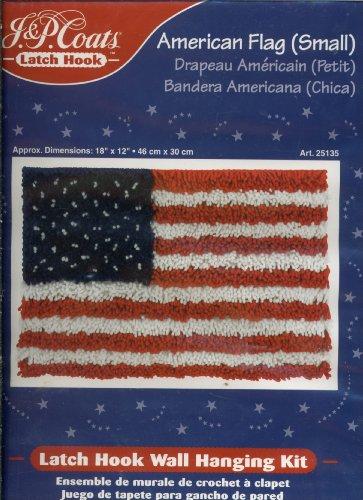 J&P Coats Latch Hook Wall Hanging Kit - American Flag Small 18