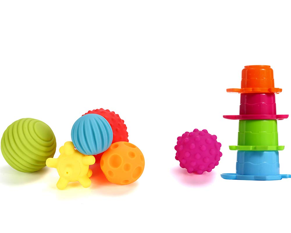 Lemostaar OleOleToy Sensory Balls Kids: Best Textured Multi Ball Set Babies & Toddlers, 6 Colorful Soft & Squeezy Toys Stacking Cups Perfect Stress Relief Toy Kids & Sensory Balls for Toddlers