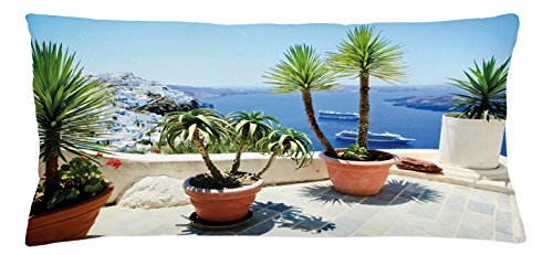 Lunarable Travel Throw Pillow Cushion Cover, Summer Vacation in Santorini Balcony Overlooking The Old Volcano The Caldera Aegean, Decorative Square Accent Pillow Case, 36 X 16 Inches, Multicolor Aegean Decorative Pillow