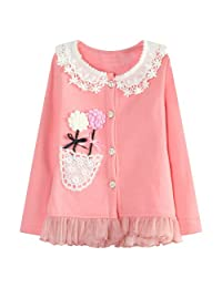 Richie House Girls' Cardigan with Flower Details Size 2-8 Rh1431