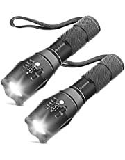 [2 Packs] LED Torches, OUYOOOO High Lumens XML T6 Flashlights with Adjustable Focus and 5 Light Modes, Water Resistant Torch for Emergency, Power Outage, Camping, Hiking